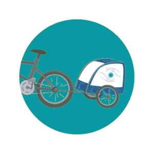 Une remorque à vélo pour transporter la table de massage à Arras et alentours. Un massage à domicile responsable